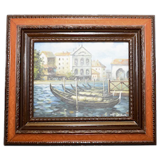 H. Gaynor Signed Original Oil Impressionist Landscape Gondola Boats in Lagoon - Venice Italy Painting in Wood Frame