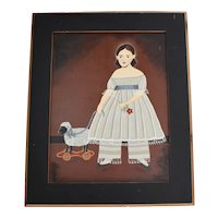 Original Oil on Canvas Primitive Americana Folk Art Naive Outsider Art 18th Century Style Girl with Pull Toy In Wood Frame
