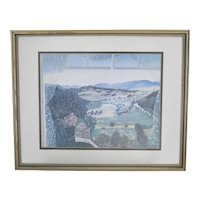c1951 Grandma Moses Hoosick Valley From My Window Art Print in Wood Frame