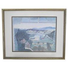c1951 Grandma Moses Hoosick Valley From My Window Art Print in Wood Frame