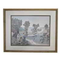 "c1948 Grandma Moses ""Mary and the Little Lamb"" Folk Art Color Print in Wood Frame"