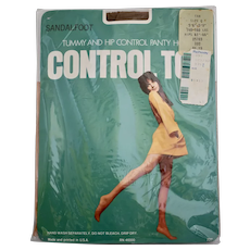 c1960s American Made Control Top Nylon Pantyhose w/ Great Fashion Model Photo