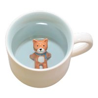 Adorable Kitty Cat Figural Art Pottery White &  Light Blue Glazed Ceramic Mug