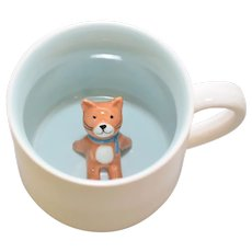 Adorable Kitty Cat Figural Art Pottery White &  Light Blue Glazed Ceramic Mug