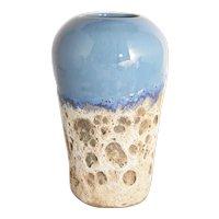 Sharpe Studio Art Pottery Ocean Inspired Fat Lava or Barnacle Caribbean Blue Glazed Pot Vase