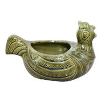c1970s Avocado Green Lava Drip Glaze Modernist Style Chicken or Rooster Art Pottery Open Dish or Planter