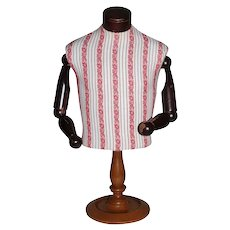 Sylvestri of California Signed Articulated Turned Wood & Textured Fabric Countertop Mannequin