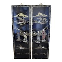 Set of 2 Long Black Lacquered Wood Hardstone Asian Geisha Women & Pagoda Temple Hand Painted Ornate Wall Hangings