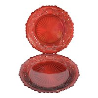 "Set of 2  Avon 1876 Cape Cod Ruby Red Glass 7.5"" Salad Luncheon Dessert Plates"