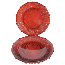 "Set of 2  Avon 1876 Cape Cod Ruby Red Glass 7.5"" Salad Luncheon Dessert Plates"