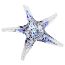 Hand Blown Millefiori Art Glass Starfish Figural Sculpture Paperweight