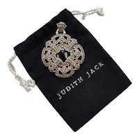 Judith Jack Signed Large Sterling Silver Marcasite & Black Onyx Pendant w/ Original Signature Pouch