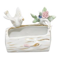 c1950s Sphinx Japan Figural Bird & Flowers on a Log Small White Porcelain Vase / Planter or Catch-All