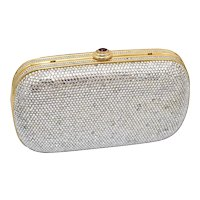 Judith Leiber Designer Swarovski Crystal & Red Garnet Cabochon Clasp Double Compartment Minaudière Clutch Purse