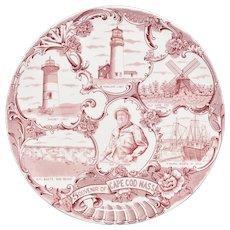 Souvenir of Cape Cod Mass. Old English Staffordshire Ware England Adams Red & White Transferware Plate