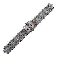 c1880s Victorian Era Ornate Filigree & Beadwork Rose Flower Motif & Purple Amethyst Glass Paste Metalwork Belt