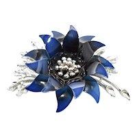 c1960s Large Coro Signed Navy Blue Enamel Flower Brooch/Pin