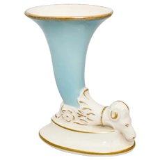 Hollywood Regency Ram's Head Cornucopia or Trumpet Style Aqua Blue & Cream Ceramic Vase