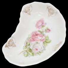Johann Seltmann Germany Decorative Pink Rose White Porcelain Kidney Shape Pin Tray