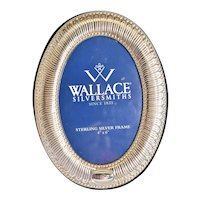 """Wallace Silversmiths Sterling Silver 4 x 6"""" Oval Photo Frame - Made in Italy"""