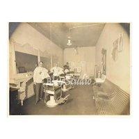 Victorian Men in Barber Shop Large Antique Cabinet Card Photograph