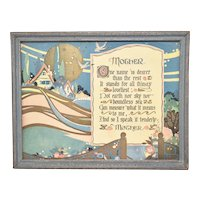 "c1920s Tribute to ""Mother"" Mother's Day Poem Color Art Print in Original Painted Blue Wood Frame"