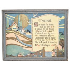 """c1920s Tribute to """"Mother"""" Mother's Day Poem Color Art Print in Original Painted Blue Wood Frame"""