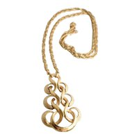 """c1960s Crown Trifari Large Textured & Polished Gold Tone Scrollwork Statement Pendant w/ Original 24"""" Long Chain Necklace"""