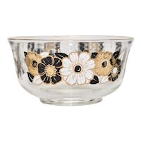 Georges Briard Mid-Century Modern Large Gold, Black, White Daisy Flower Motif Serving or Fruit Bowl