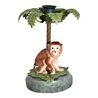Petites Choses Ceramic Monkey Under Painted Metal Palm Tree Candlestick / Candle Holder on Green Marble Base