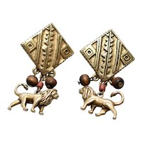 Disney Lion King Simba Lion Figural Tribal Wood Bead Dangle Earrings