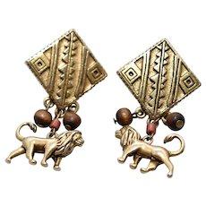 Disney Lion King Simba Lion Figural Tribal Wood Bead Dangle Earrings