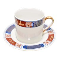 c1975 Fitz & Floyd Nishiki Porcelain Demitasse Cup & Saucer