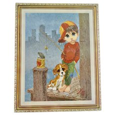 """c1970s Lee Signed """"Fishing in the Rain"""" Big Eyes Boy with Puppy Dog 11 x 14 Litho Thick Cork Board Wall Art - SEALED"""