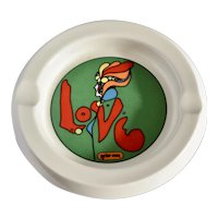 "c1968 Peter Max Iconic ""Love"" Motif China by Iroquois Psychedelic Mod Lady Ceramic Pottery Ashtray"