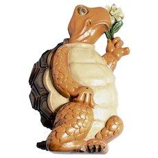 c1978 Burwood Orange 3-D Anthropomorphic Turtle w/ Yellow Daisy Kitsch Wall Plaque / Wall Hanging