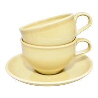 c1950s 3-Pc Russel Wright Iroquois Casual China Yellow Cups & Saucer USA