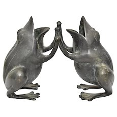 Heavy Black Patinated Bronze Playful Frogs Figurine Vase Sculpture