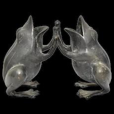 Heavy Black Patinated Bronze Playful Frogs Figurine Vase Sculpture