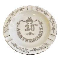 "Lefton 25th Wedding Anniversary Silver Overlay 6"" White Porcelain Ashtray / Trinket Dish"