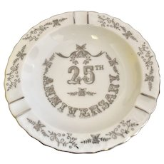 "Lefton 25th Wedding Anniversary Silver Overlay 6"" White Porcelain Ashtray / Trinket Dish"
