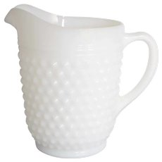 "Anchor Hocking 8"" White Milk Glass Hobnail Pitcher"