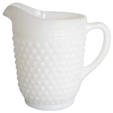 "Anchor Hocking 8"" White Milk Glass Hobnail Pitcher"