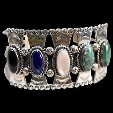 J. SAM Navajo Silversmith Signed Sterling Silver Turquoise, Malachite, Black Onyx, MOP, Lapis Lazuli Gemstone Cuff Bracelet