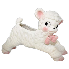 c1950s Napco / National Potteries Co. White Ceramic Lamb w/ Pink Ribbon Bow Container or Planter for Baby Nursery