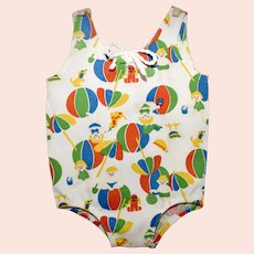 c1960s Carter's - For Large Doll or Child Mannequin - Colorful Summer Beach Print 100% Nylon Girl's Swimsuit - Size 2T