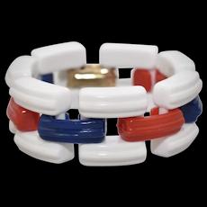 Napier Designer Signed American Patriot Chunky Red, White & Blue Lucite Link Bracelet