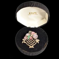 1928 Jewelry Co. Pastel Pink Rhinestone Flower Filigree Basket Brooch / Pin