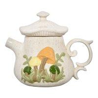 Arnel's Handpainted Mushroom Speckled Beige Ceramic Teapot with Original Lid