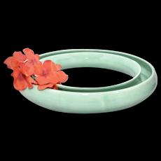 Stangl Pottery Light Green Glazed Ceramic Pansy Flower Ring Vase